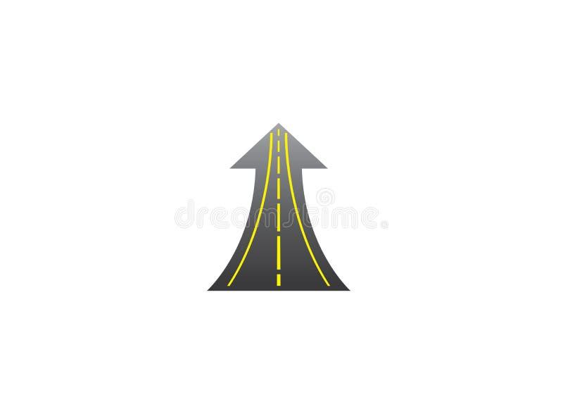 Den raka vägen går upp i pil till framgångvägen med gula linjer för logodesign stock illustrationer