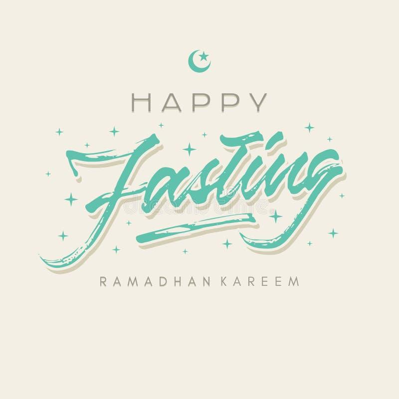 Den ramadhan lyckliga fastan förgrovar affischen för kortet för hälsningen för borstebokstävertypografi stock illustrationer