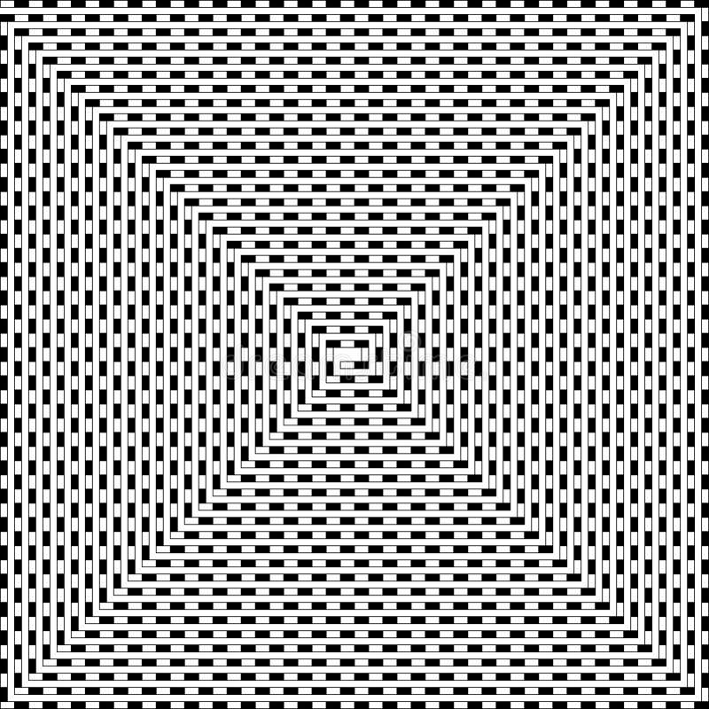 Den randiga linjen rotera in i en spiral, svartvitt psykedeliskt klappar royaltyfri illustrationer