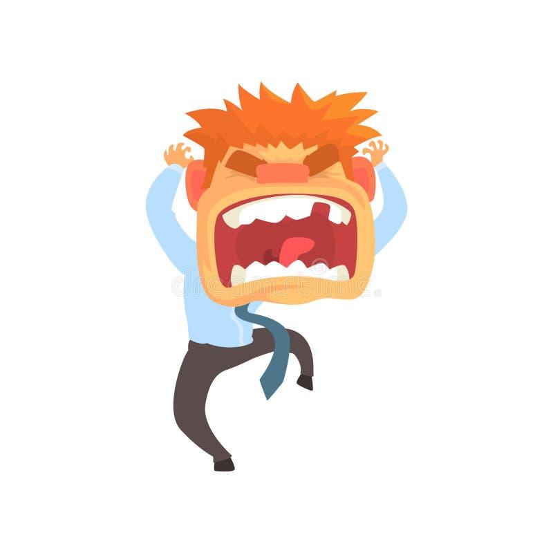 Den rasande unga rödhårig manmannen som skriker, misströstar den aggressiva illustrationen för vektorn för persontecknad filmteck stock illustrationer
