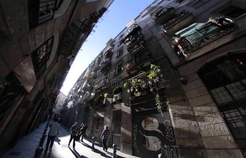 Den Raval fyrkanten i Barcelona arkivbild