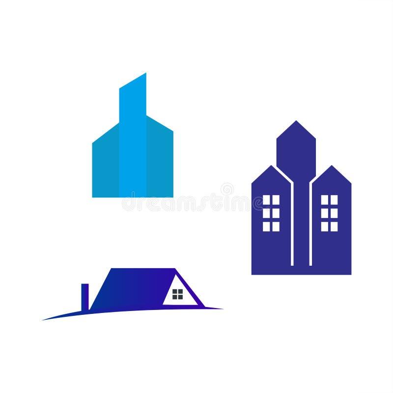 Den Real Estate logoen st?llde in f?r ditt f?retag Konstruktion huslogo vektor illustrationer
