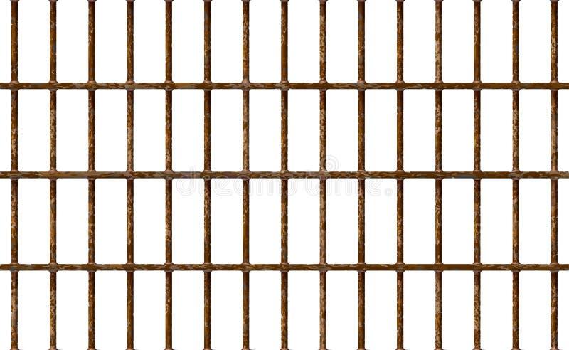 Den realistiska arresten bommar för rostigt, inre för fängelsebakgrundsjärn Gamla bruna celler Galler f?r metall f?r illustration royaltyfri illustrationer