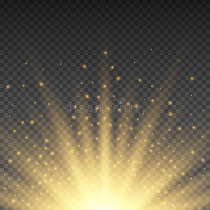 Den realistiska genomskinliga gula solen rays, varm orange signalljuseffekt som isoleras på rutig bakgrund Solsken från stjärnan vektor illustrationer