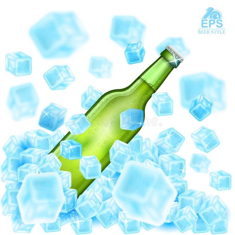 Den realistiska gräsplanflaskan för åtlöje av öl flyger upp ut ur iskuber med djup av fältet på vit stock illustrationer
