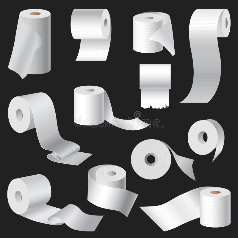 Den realistiska illustrationen för vektorn för modellen för mallen för rulle för toalettpapper och kökshanddukuppsättningen isole stock illustrationer