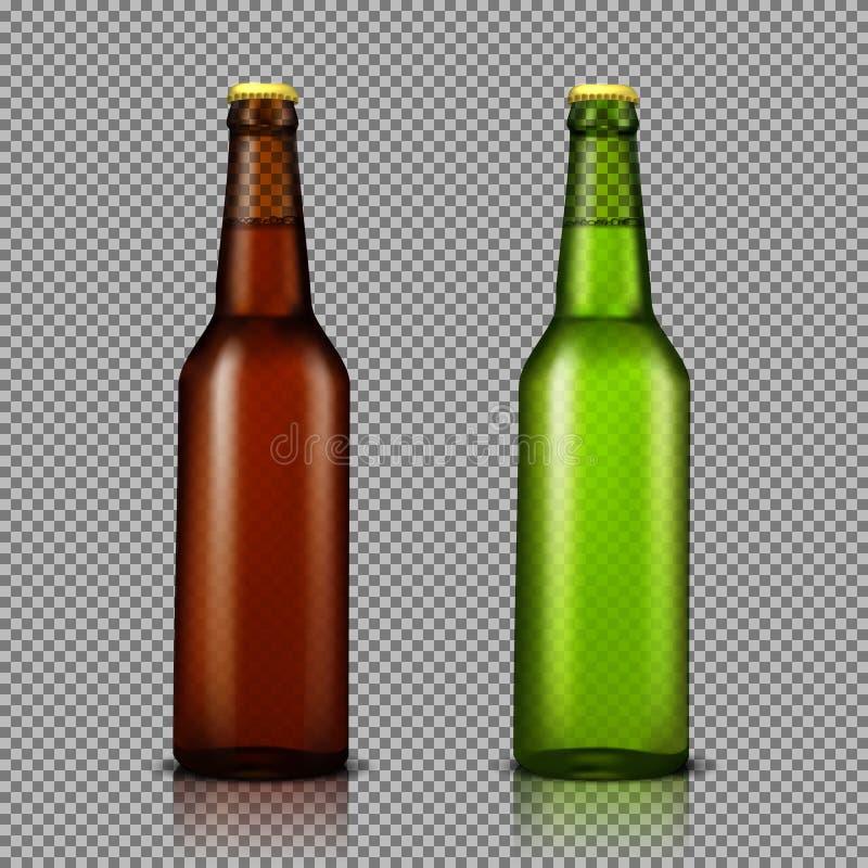 den realistiska illustrationuppsättningen av genomskinliga glasflaskor med drinkar, ordnar till för att brännmärka royaltyfri foto