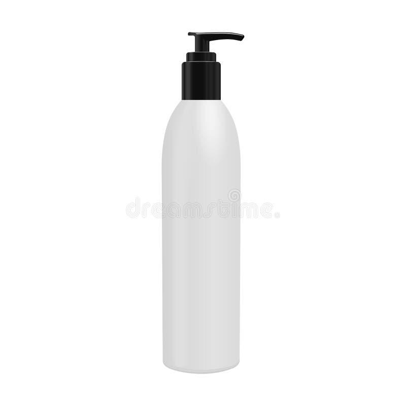 Den realistiska kosmetiska flaskan kan sprejarebehållaren Utmatare för kräm, soppor och andra skönhetsmedel med locket och withou stock illustrationer