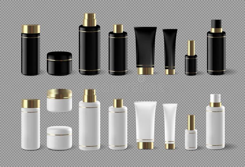 Den realistiska kosmetiska uppsättningen för flaskåtlöje isolerade upp packen på vit bakgrund Kosmetisk märkesmall Schampopacke stock illustrationer