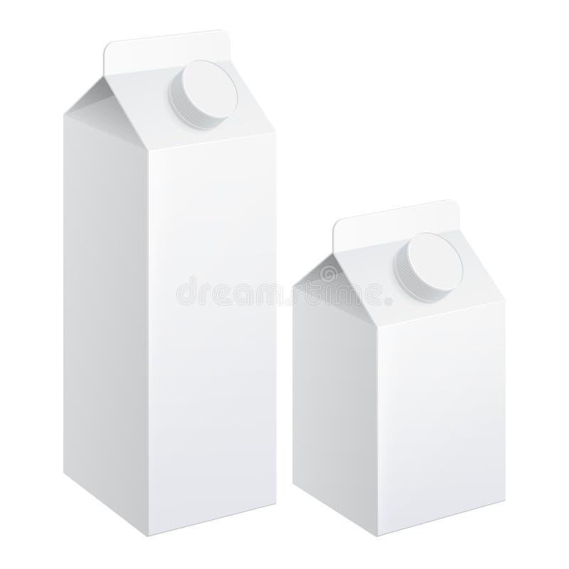 Den realistiska lådan av mjölkar stock illustrationer