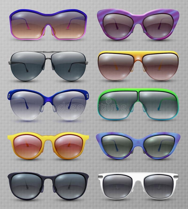 Den realistiska modesolglasögon och den exponeringsglas isolerade vektorn ställde in stock illustrationer