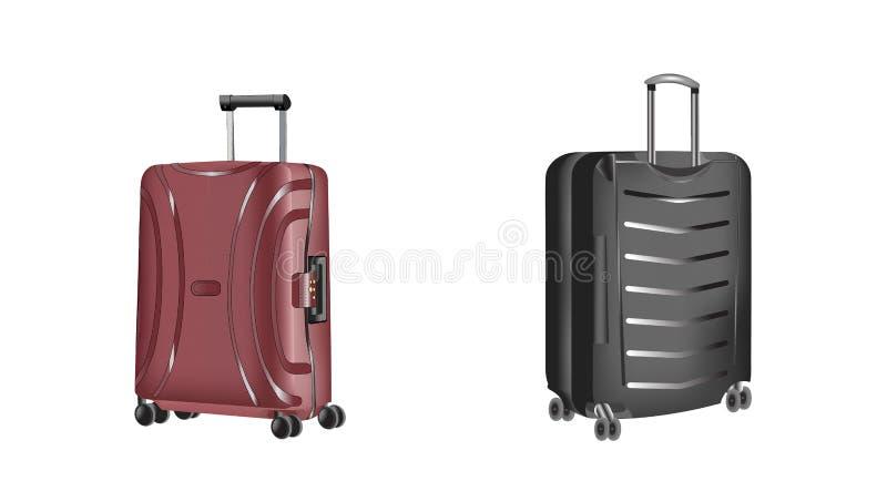 Den realistiska polycarbonaten reser plast- resväskor med hjul som isoleras på vit bakgrund stock illustrationer