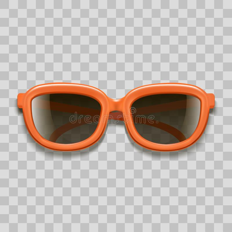 Den realistiska röda solglasögon 3d svärtar linser på en genomskinlig bakgrund vektor vektor illustrationer