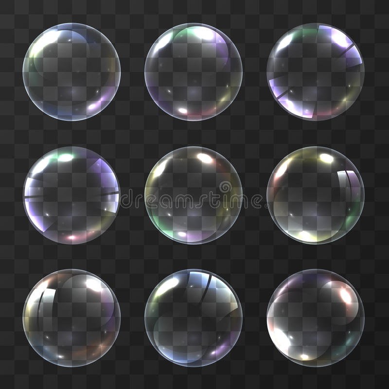 Den realistiska såpbubblan med regnbågen färgar på svart bakgrund vektorsåpbubblaillustration Såpbubblauppsättning objekt stock illustrationer