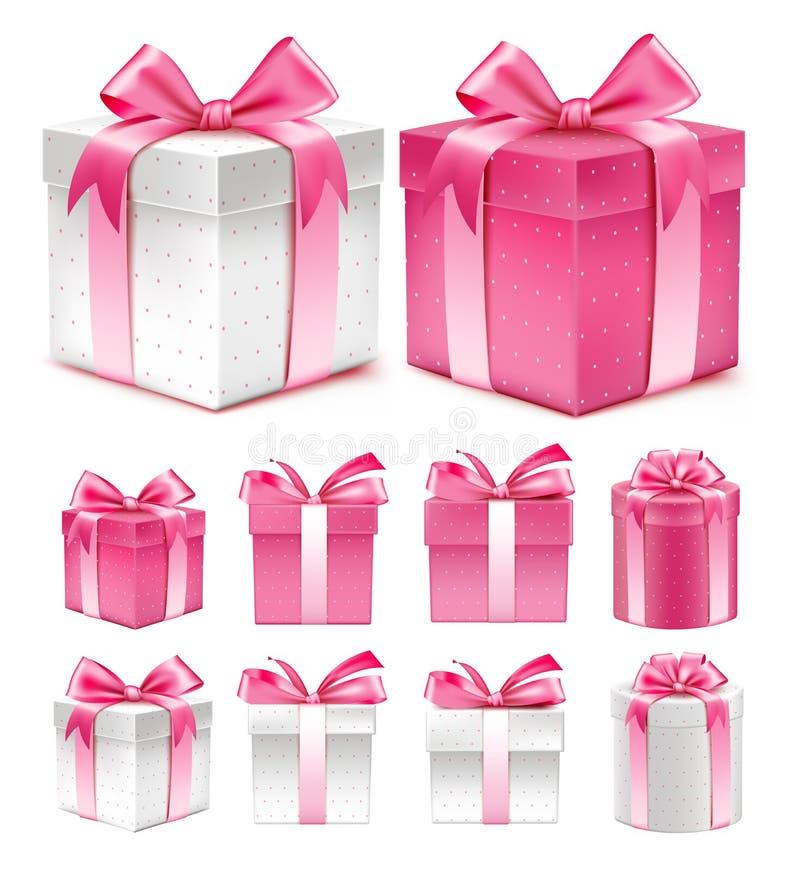Den realistiska samlingen 3D av färgrika rosa färger mönstrar gåvaasken vektor illustrationer
