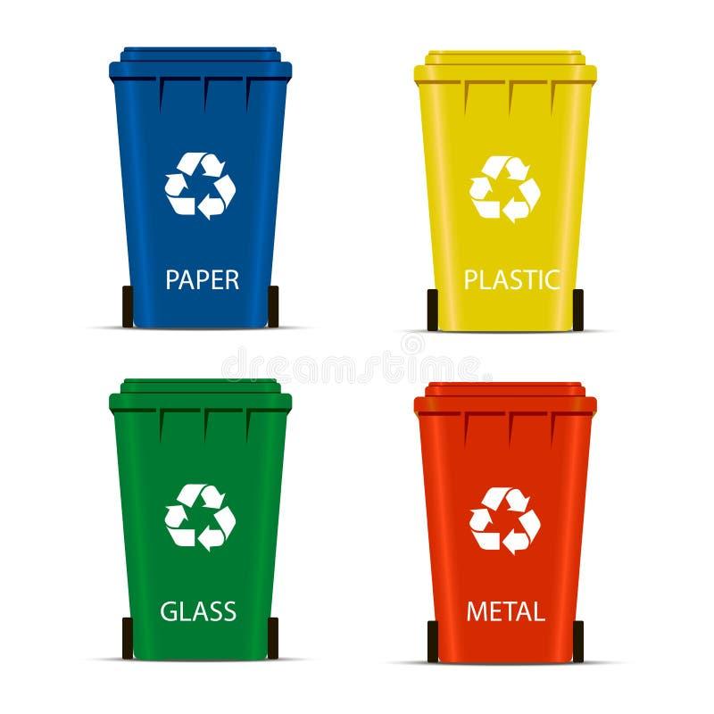 Den realistiska uppsättningen återanvänder fack för avfall och avskräde som isoleras på vit bakgrund Begrepp för förlorad ledning royaltyfri illustrationer