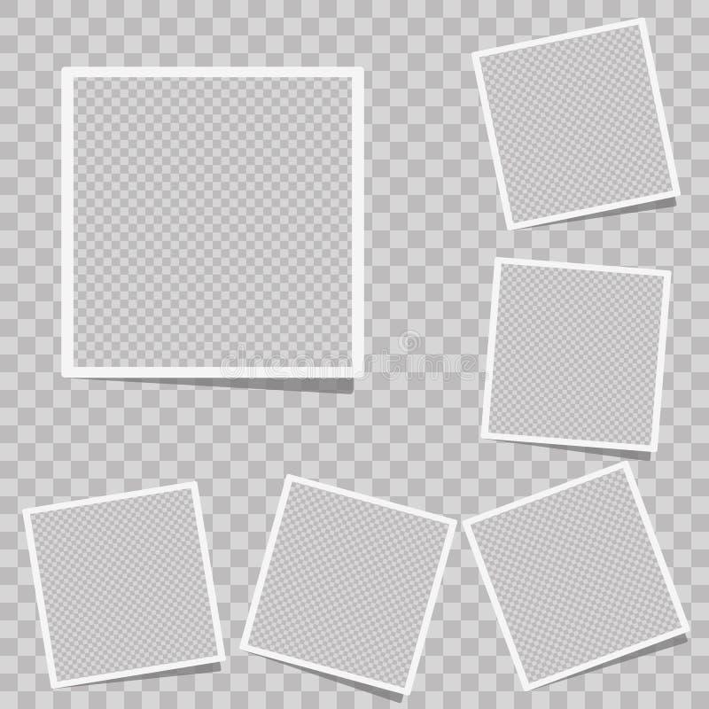 Den realistiska vektorfotoramen med raksträcka kantar på det klibbiga bandet som vertikalt förläggas vektor illustrationer