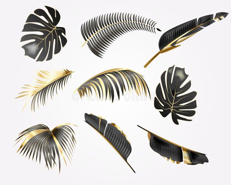 Den realistiska vektorillustrationen ställde in av tropisk guld och svarta sidor som isolerades på vit bakgrund stock illustrationer