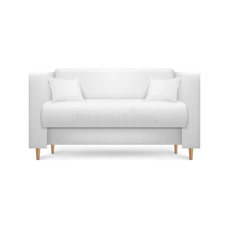 Den realistiska vektorn 3d framför den lyxiga kontorssoffan för vitt läder, soffa med kuddar i enkel modern stil för inre royaltyfri illustrationer