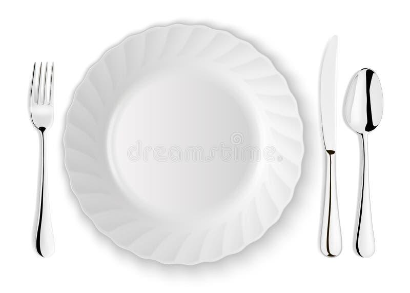 Den realistiska vektorskeden, gaffeln, kniven och maträtten pläterar closeupen på vit bakgrund Designmall eller åtlöje upp överka stock illustrationer