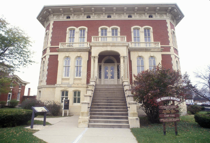 Den Reddick herrgården, Ottawa, Illinois royaltyfri bild
