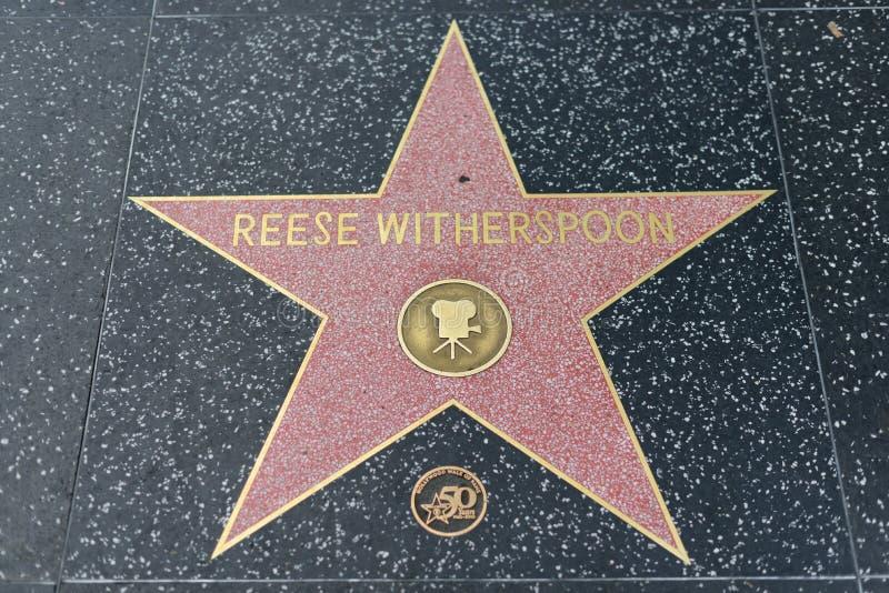 Den Reese Witherspoon stjärnan på Hollywood går av berömmelse royaltyfri bild