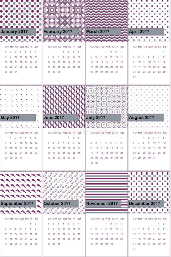 Den regentgrå färger och plommonet färgade den geometriska modellkalendern 2016 stock illustrationer