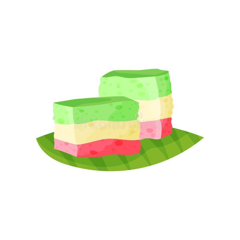 Den regnbågeKue lasursten eller traditionell indones varvade kakan Läcker och sötsakmat Kulinariskt tema Färgrik design för vektor illustrationer