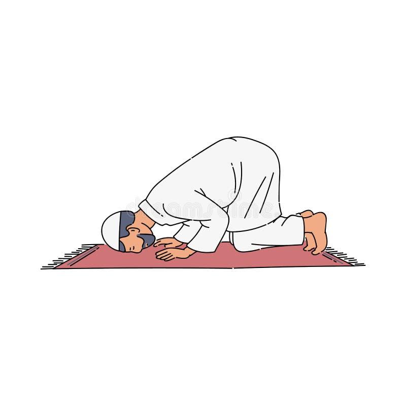 Den religiösa muslim mannen som ber den isolerade vektorillustrationen i, skissar stil stock illustrationer
