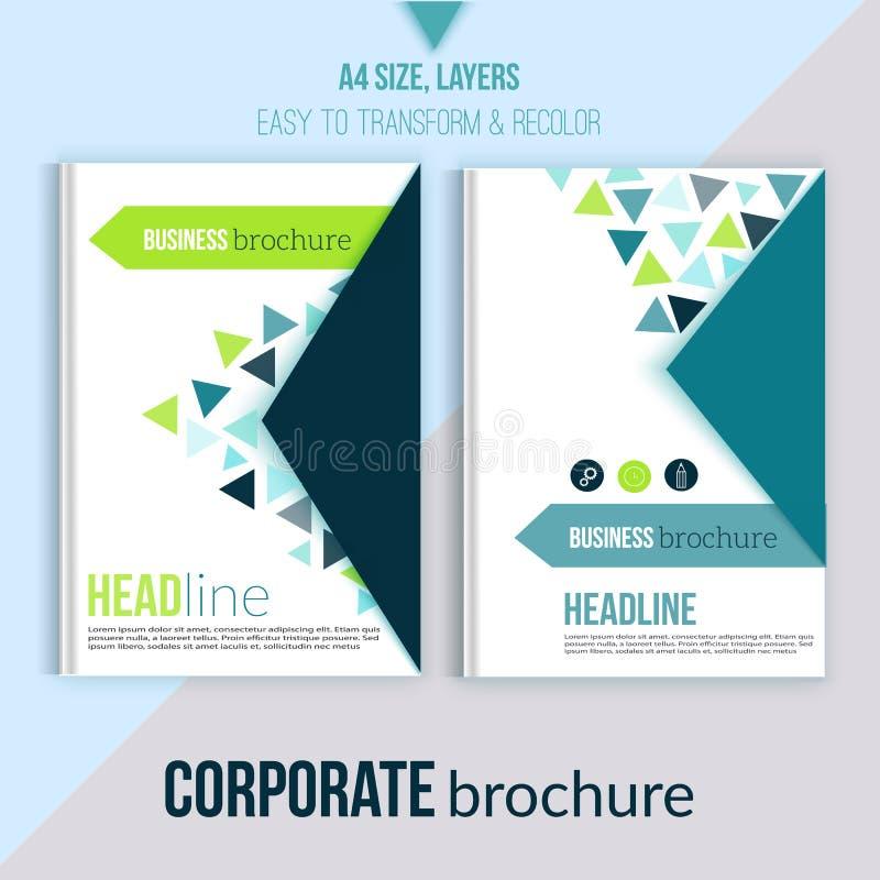 Den rena broschyrdesign-, årsrapport-, räkningsmall-, tidskrift-, reklamblad- och bokorienteringen med triangeln formar på vit vektor illustrationer