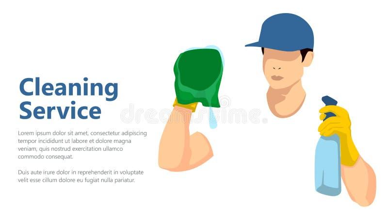 Den rengörande hatten för blått för kläder för servicemanarbete i den vita tshirten och gula handskar bär den vita t-skjortan för royaltyfri illustrationer