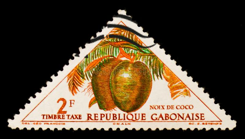 Den Republiken Gabon portostämpeln visar kokospalmCocos nucifera, circa 1962 fotografering för bildbyråer