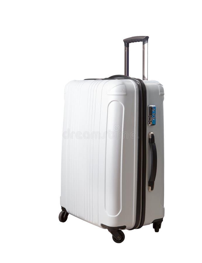 Den resande resväskan, bagage isolerade vit bakgrund royaltyfria bilder