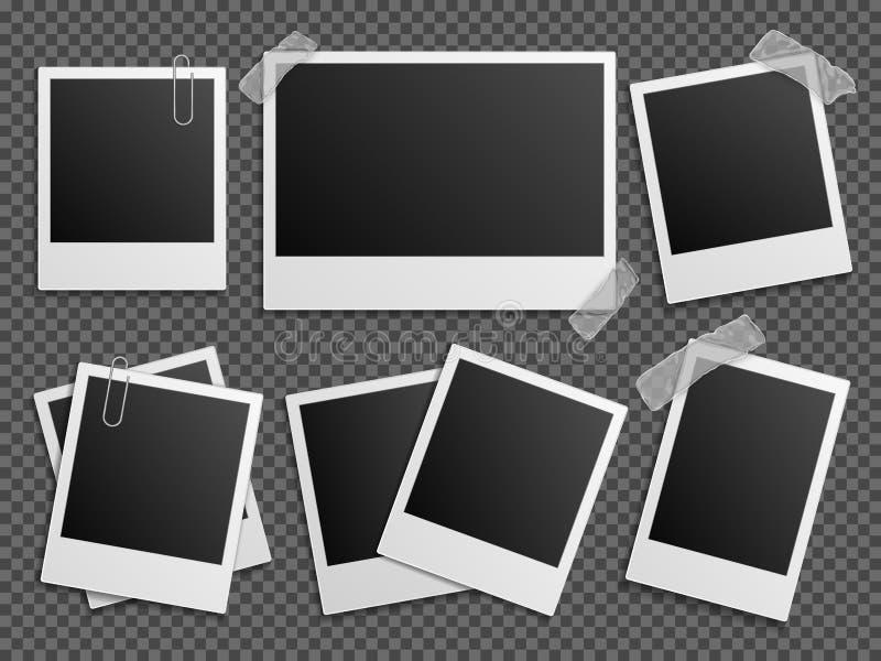 Den Retro fotopolaroiden inramar vektoruppsättningen för familjalbum royaltyfri illustrationer