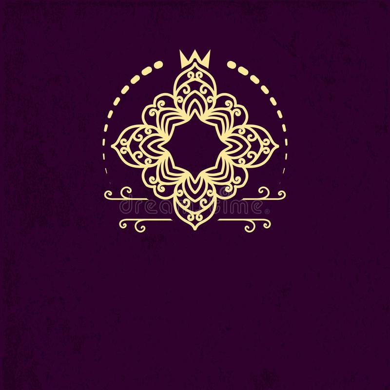 Den Retro idérika monogrammallen med krusidullar smyckar objekt Planlägg beståndsdelen för inbjudan, meddelandet, broschyr i tapp royaltyfri illustrationer