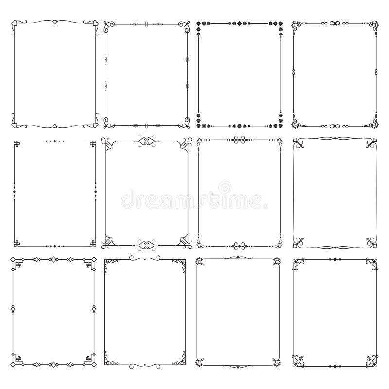 Den Retro klassiska eleganta uppsättningen för ramgränsvektorn för certifikat och inbjudan planlägger stock illustrationer
