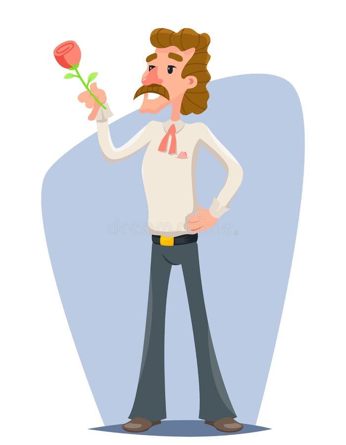 Den Retro macho snygga mannen gratulerar kvinnor då och då och illustrationen för vektor för mall för design för tecknad film för stock illustrationer