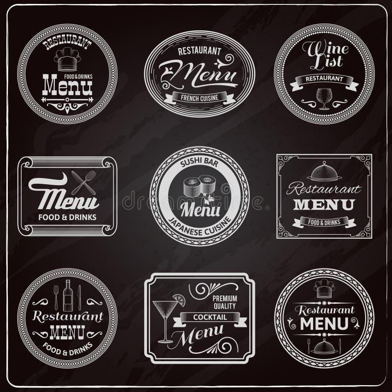 Den Retro menyn märker den svart tavlan royaltyfri illustrationer