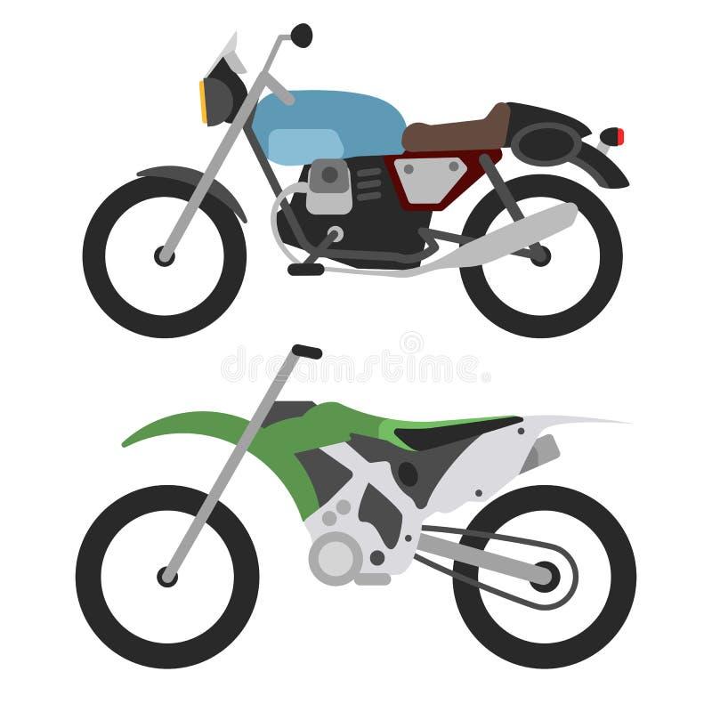 Den Retro motorcykeln och motorcross cyklar isolerat på vit stock illustrationer