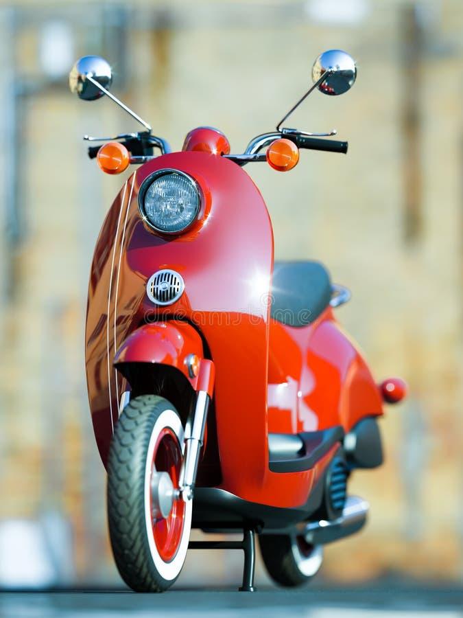 Den retro röda klassiska sparkcykelmotorn på gatan av staden 3d stock illustrationer
