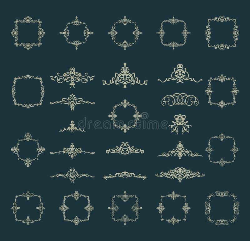 Den Retro rosett- och victorianprydnaden för garnering smsar vektor illustrationer