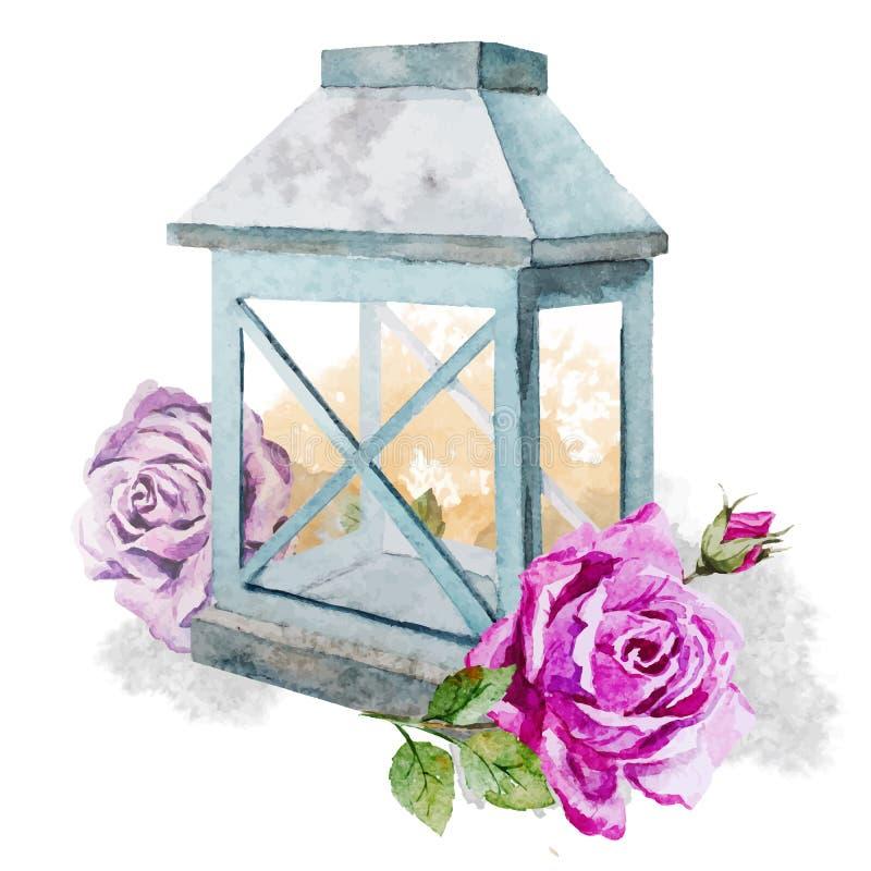 Den Retro tappninglampan med steg royaltyfri illustrationer