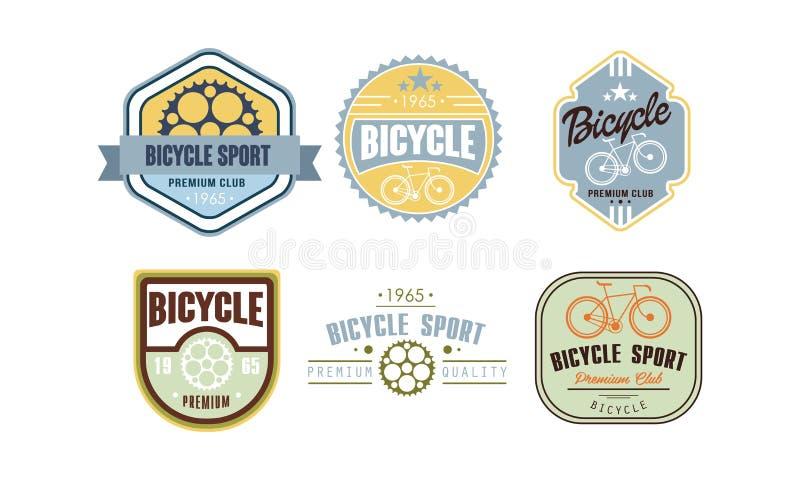 Den Retro uppsättningen för cykelsportlogoen, vintafeemblemet, etikett kan användas för cykel, eller reparationen shoppar och att stock illustrationer