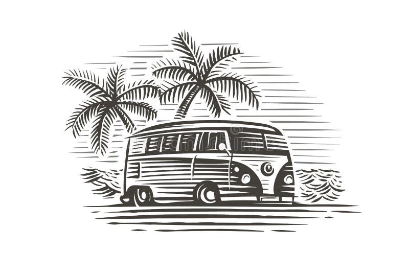 Den Retro vagnen nära havet och gömma i handflatan den monokromma illustrationen vektor vektor illustrationer