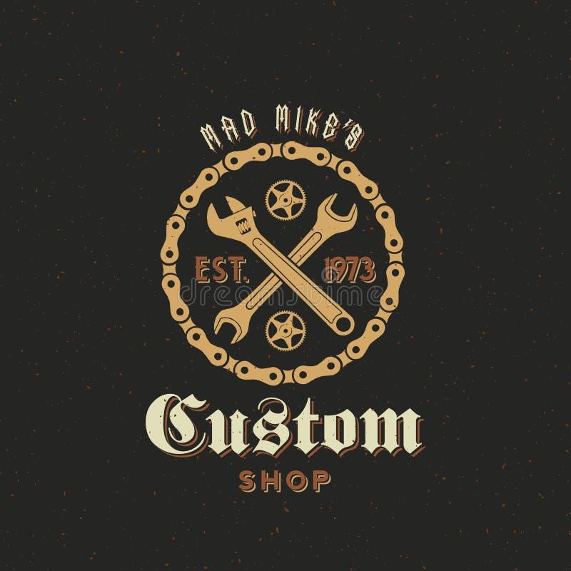 Den Retro vektorcykelegenn shoppar etiketten eller logo stock illustrationer
