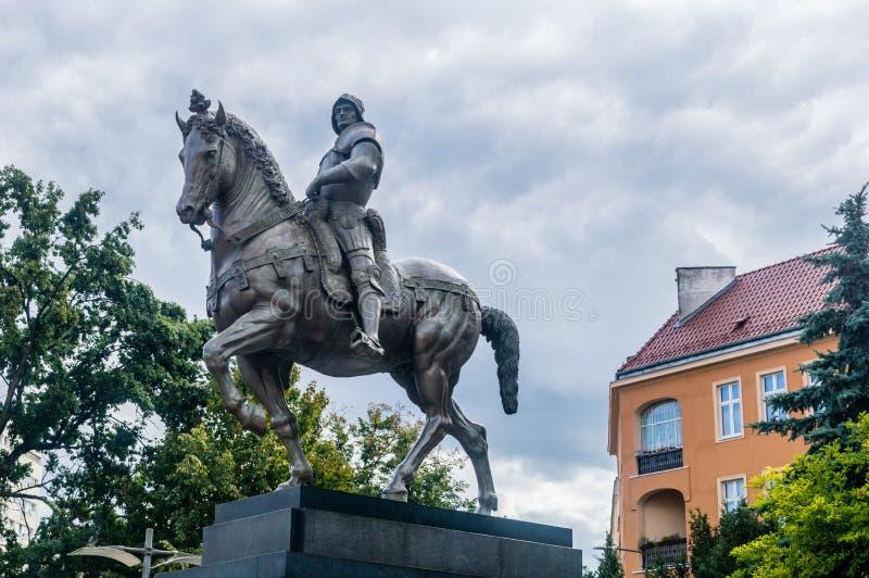 Den rid- statyn av Bartolomeo Colleoni i Szczecin royaltyfria foton