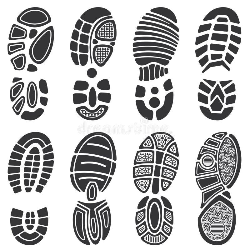 Den rinnande sporten skor vektorfotspåruppsättningen vektor illustrationer