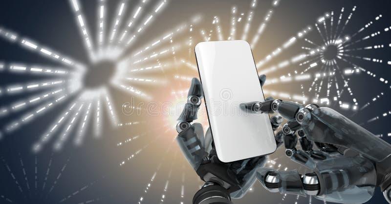 Den Robotic androidhanden genom att använda telefonapparaten och den glödande fyrverkericirkeln formar stock illustrationer
