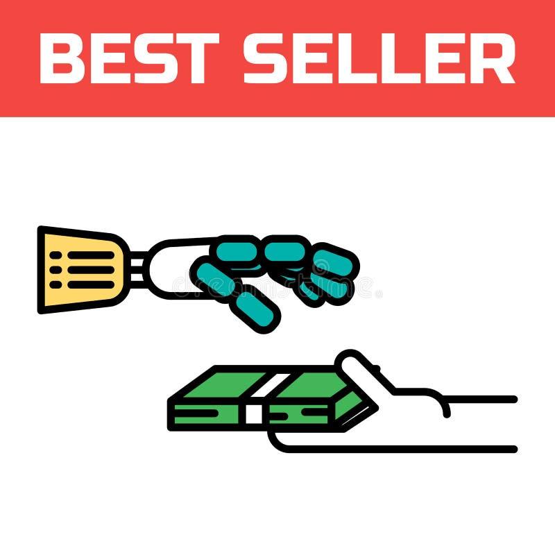 Den Robotic handen tar pengarsymbolen Cyberhandske för virtuell verklighet Innovativ apparat för digital förlaga Modern stillogo stock illustrationer
