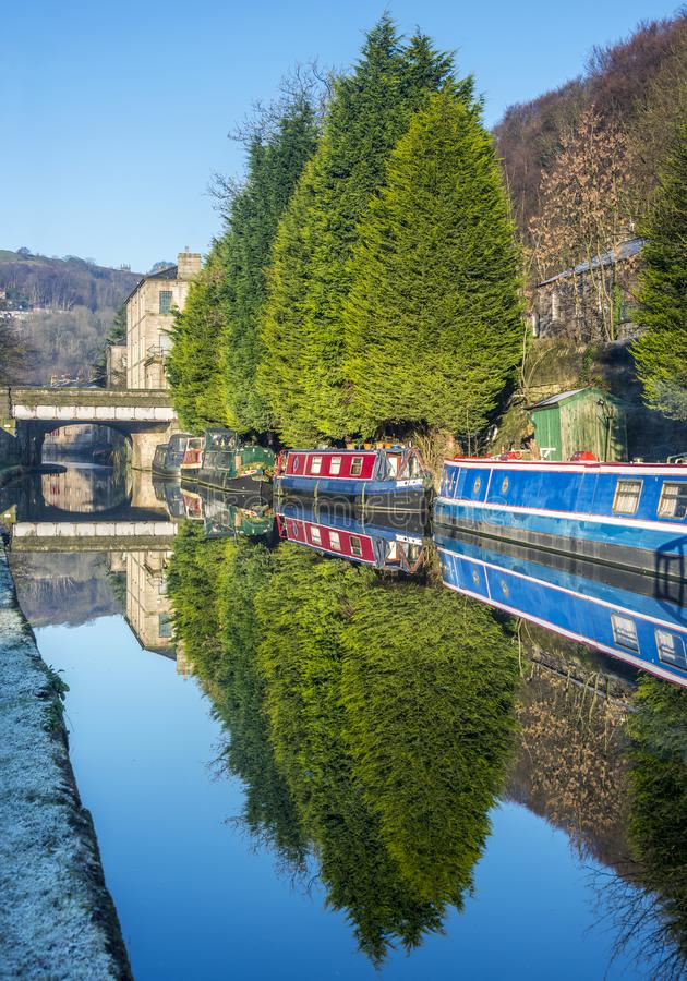 Den Rochdale kanalen hebden bron royaltyfri foto